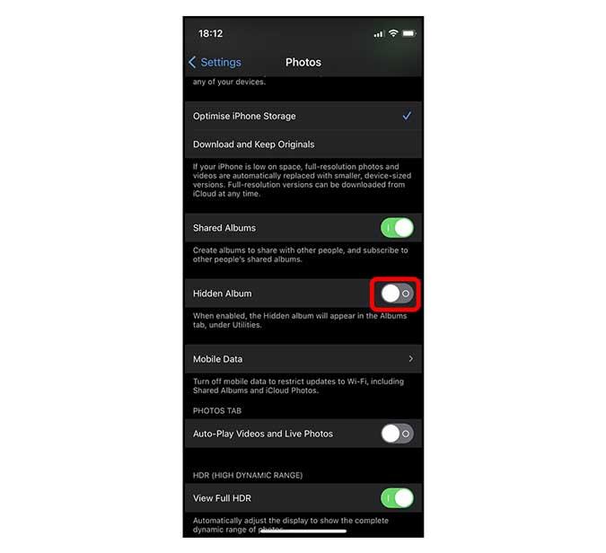 hide hidden albums from photos app