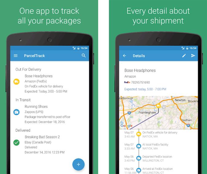 Parcel Track app using GPS