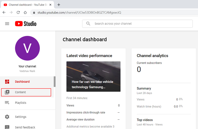 youtube studio content and channel dashboard