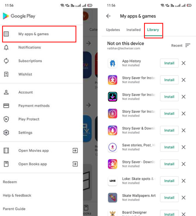 Apps Library on Google Play Store