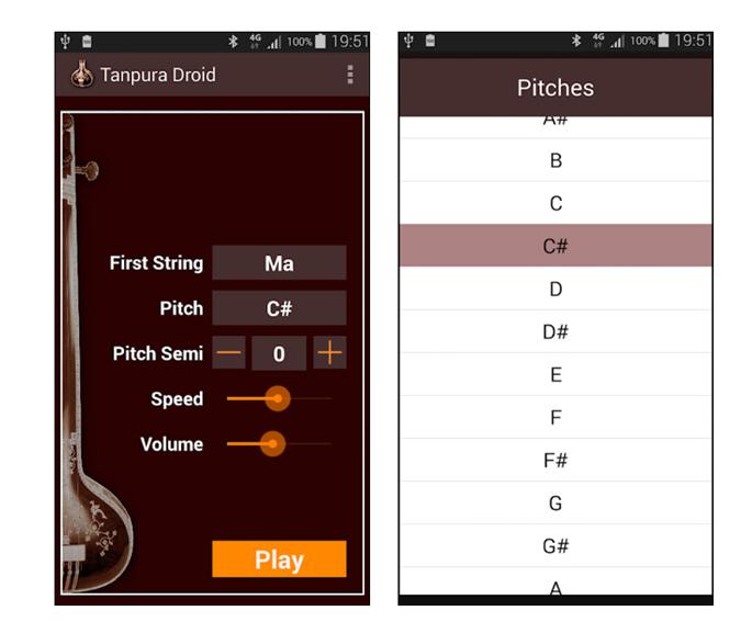 Tanpura Droid App Layout