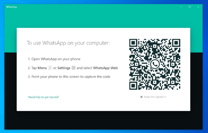 QR Code on the WhatsApp Desktop App