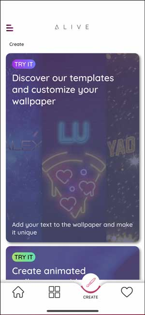 alive app with templates to create custom wallpapers