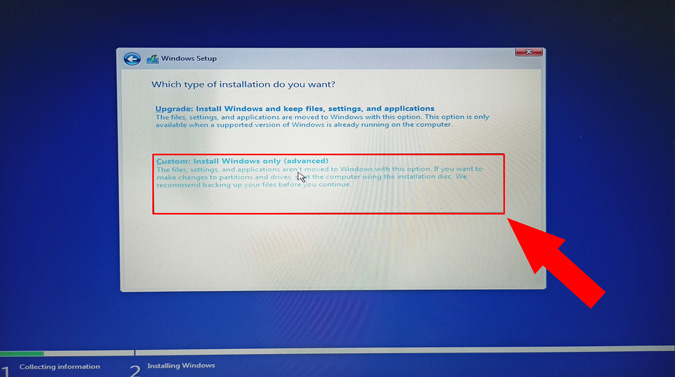 custom install windows option