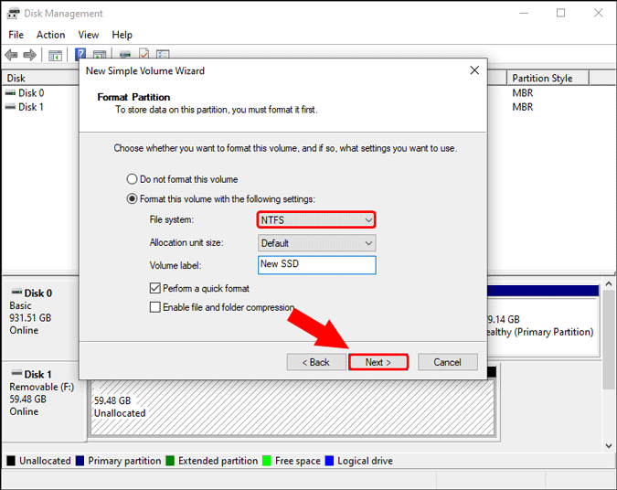 file system ntfs and volume name windows 10