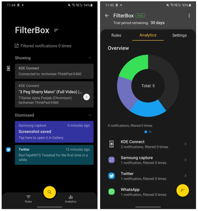 filterbox notification analytics notifications text android
