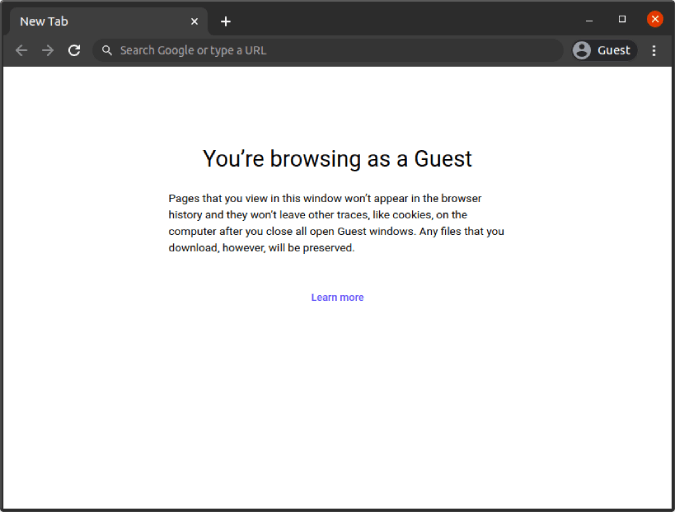 guest mode opened in google chrome