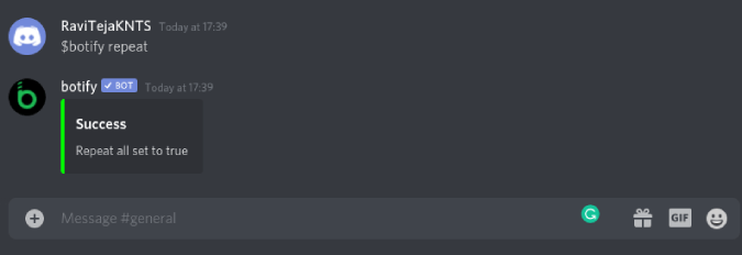 Botify Reapeat feature on discord