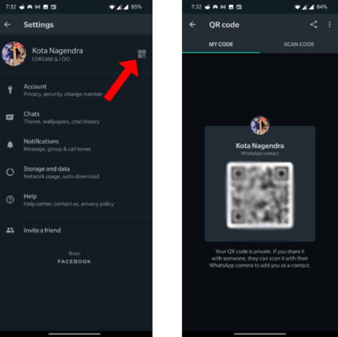 Opening QR Code to add contact