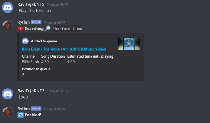 Looping songs with rythm on discord