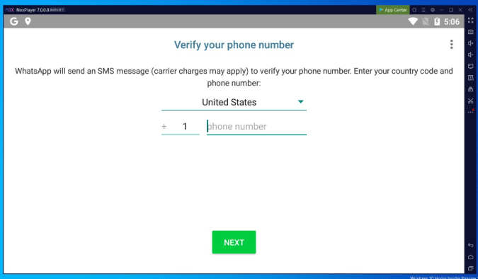registering on WhatsApp in Nox Player