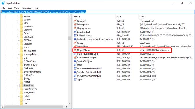 event log folder in registry editor
