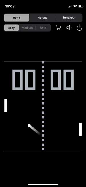 pong game on Apple iPhone