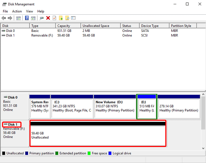 ssd not detected on windows 10 in disk management