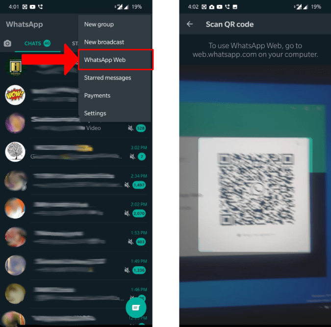 scanning WhatsApp QR code from mobile