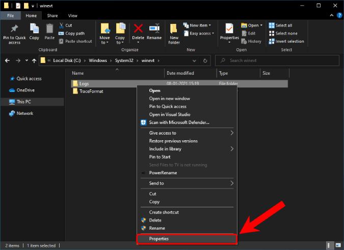 logs folder in Windows Explorer