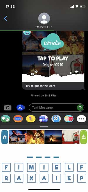 wordie is a word based imessage game for iphone