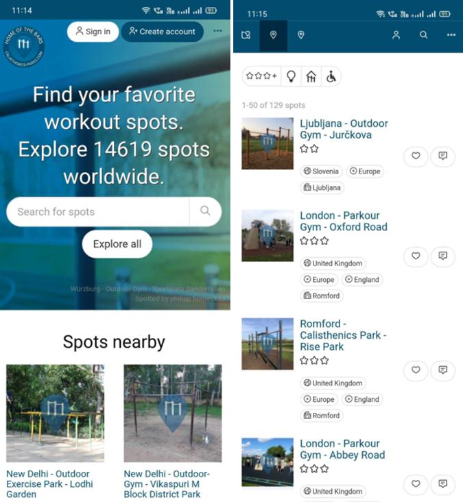 Calisthenics park app
