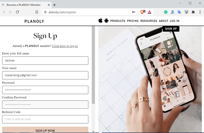 Planoly Sign Up Page
