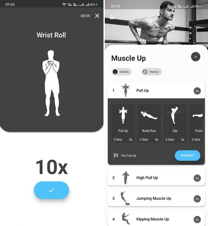 Thenics App for skill training