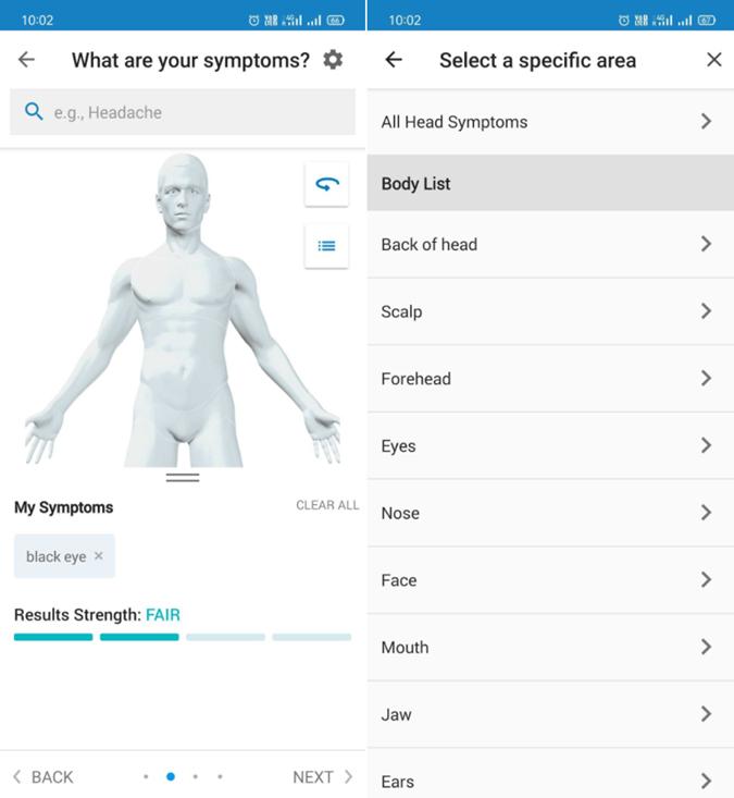 WebMD self diagnosis app