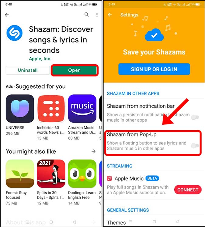 shazam from pop-up on android