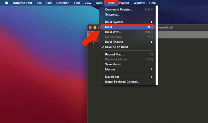 build a shell script in sublime text
