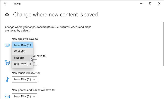choose location to save new apps windows settings