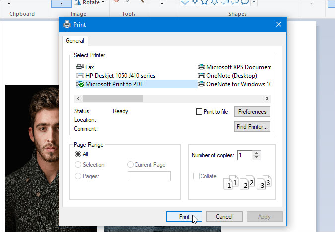 save images as pdf using paint on windows 10