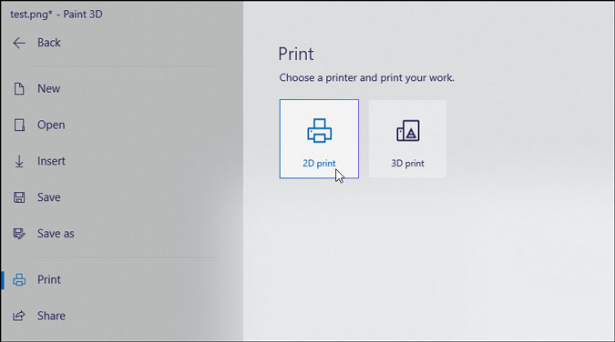 2d print settings of paint 3d