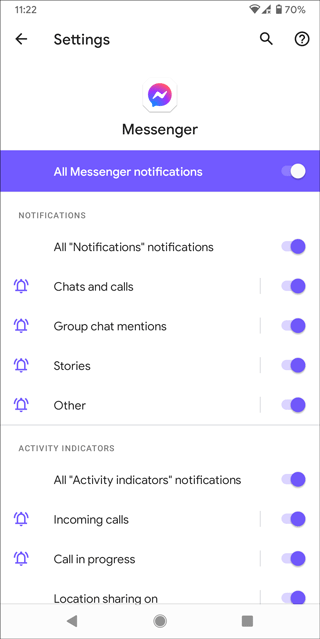 messenger notifications settings on android