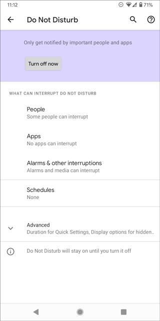 turn off do not disturb on android