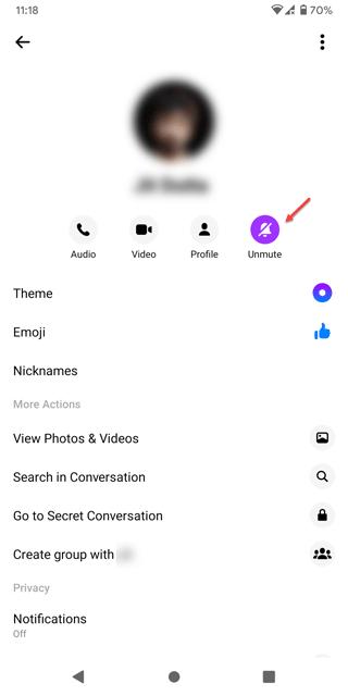 unmute messenger conversation on android