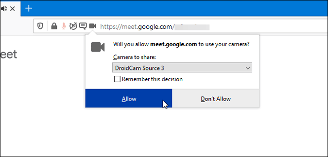 allow camera for google meet in firefox