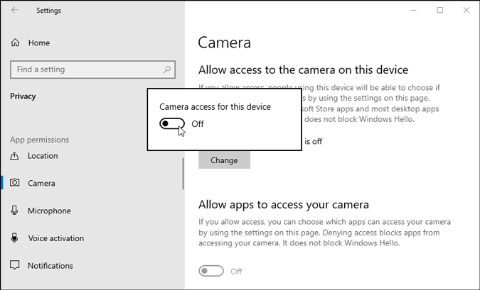 allow access to camera on windows 10
