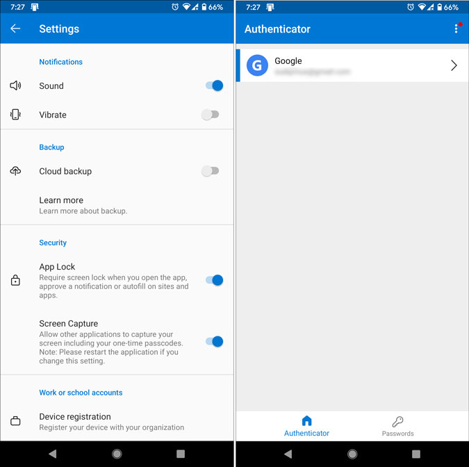 microsoft authenticator for android settings panel