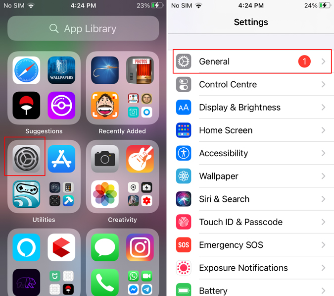 General settings on iPhone