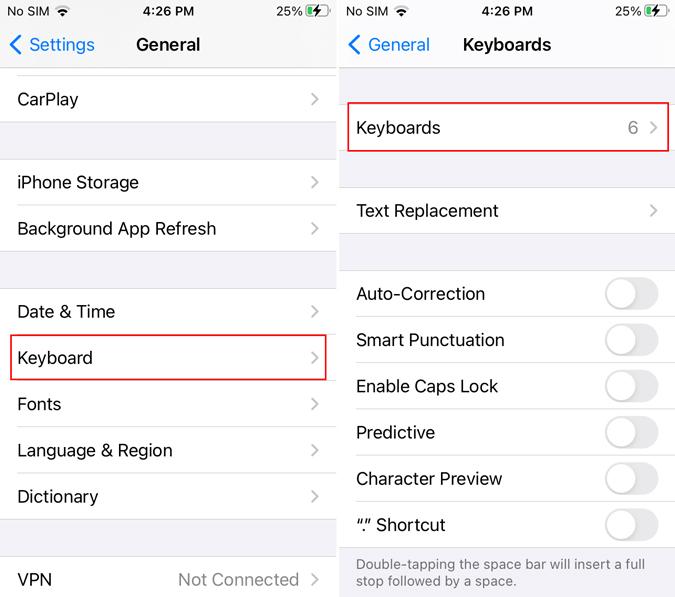 iphone keyboard settings