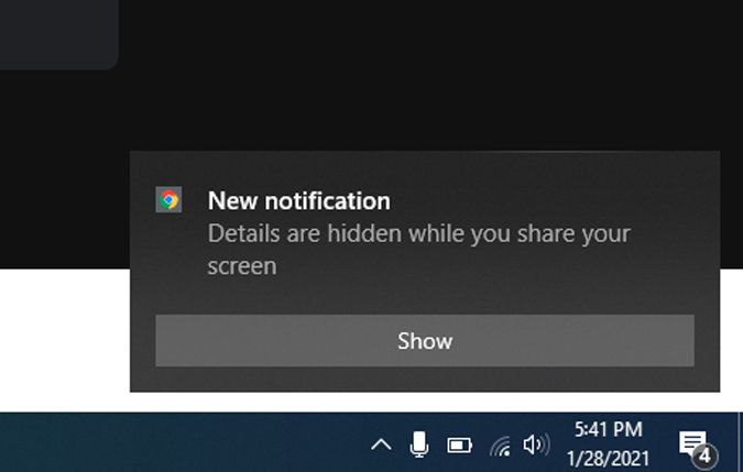 Mute notifications and hide during screen share