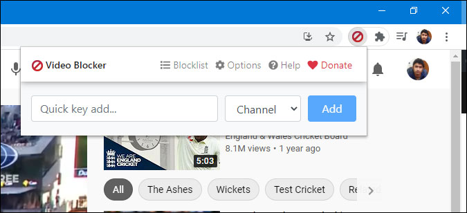 block youtube video using video block chrome extension