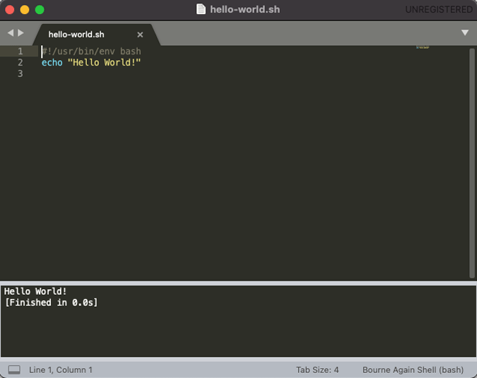 run shell script on macOS in sublime text