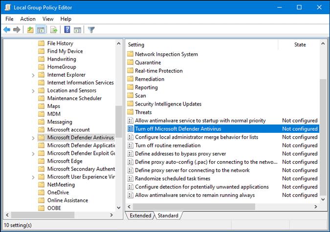 turn off microsoft defender antivirus settings in group policy