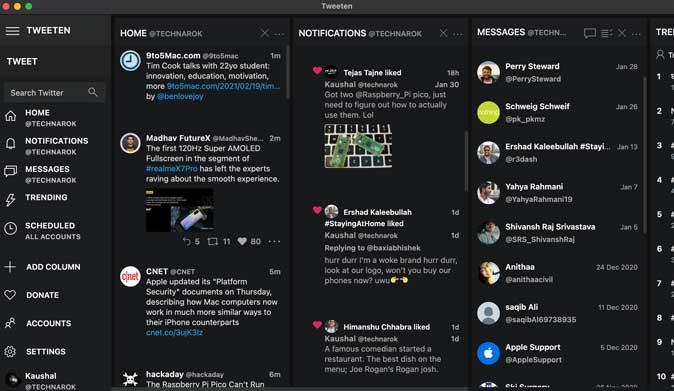 tweeten similar to tweetdeck but with more features