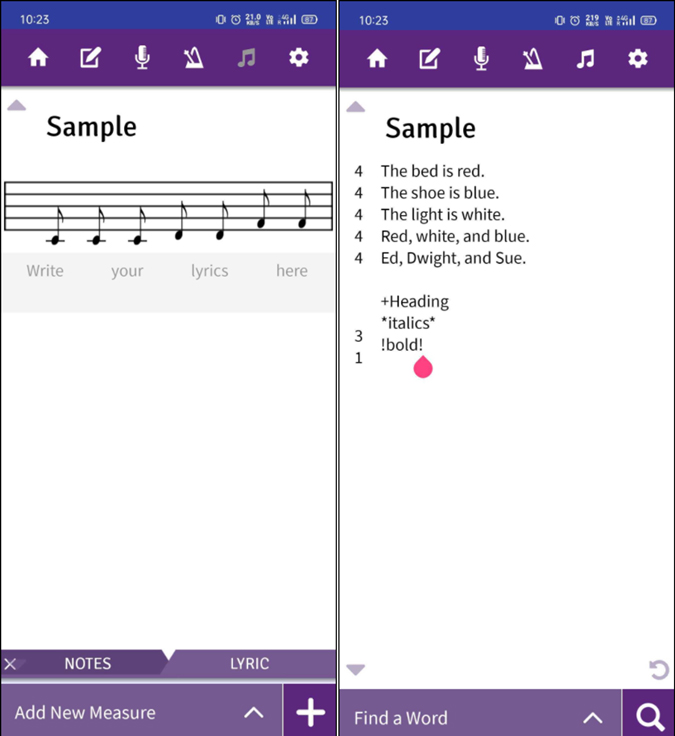 Lyric Notepad app for writing raps