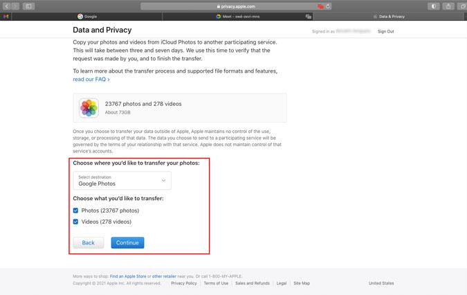Transfer Photos from iCloud to Google Photos