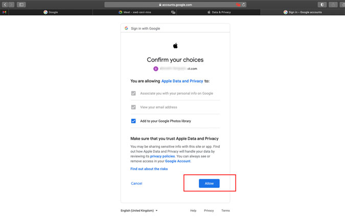 Allow Apple Data and Privacy to add to Google Photos