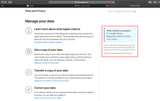 Apple's Data and Privacy page