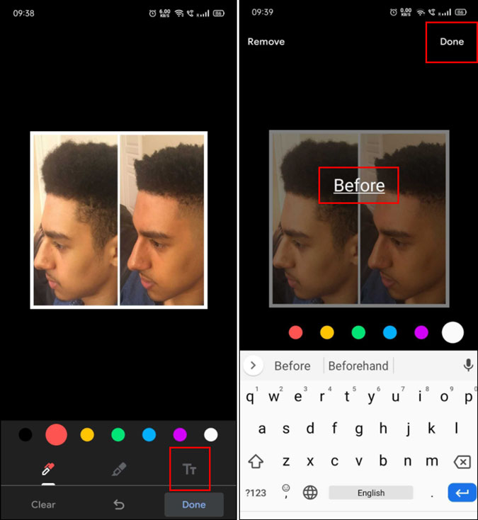 adding text to two pictures side by side