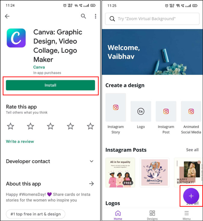 Create a new document on Canva