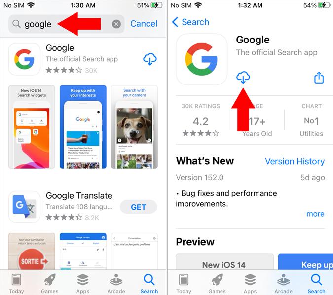 Google Search App on iOS
